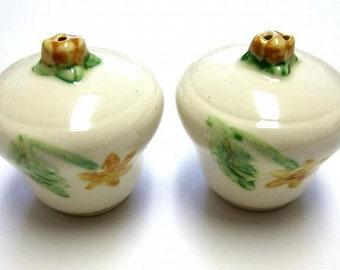 Vintage Ivory Floral Salt And Pepper Shakers