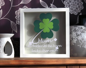framed papercut gift, better to be born lucky, 4 leaf clover, personalised papercut gift