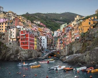 Riomaggiore Cinque Terre Italy Art Print Wall Decor Unstretched - Unframed Canvas