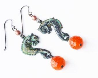 Seahorse Earrings Vintage Style Sea Horse Verdigris Earrings Orange Green Patina Jewelry Victorian Seahorse Dangles