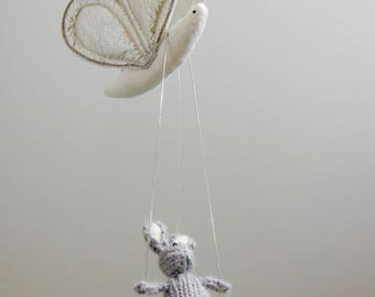Baby Mobiles, Bunny Baby Mobile, Butterfly baby mobile, Silver Nursery, Metallic Nursery Decor, Baby Mobiles, Bug Hanging Mobile, Rabbit