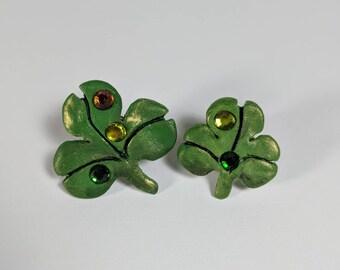 Shamrock Tack épingles, ensemble de broches, jour de la St Patrick, chance des irlandais, épingles avec Bling, deux trèfles verts, en pâte polymère