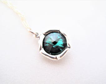 Emerald Pendant, Dark Green Necklace, Swarovski Crystal Element pendant on Sterling Silver 925