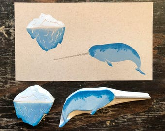 Narwal and Iceberg Hand Carved Rubber Stamp Set | Unicorn of the Sea