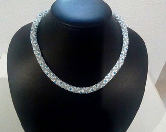 Blue and white, diamond patterned crochet rope necklace