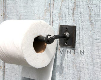 Hand Forged Iron 3 Piece Toilet Paper Holder Modern Industrial Style Bases by VinTin (Item # TP-502)