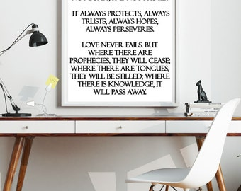 Bible Verse Wall Art, 1 Corinthians 13:4.7,8 Love is patient, Wedding Sign, Wedding Poem, Christian Poem, Christian Wall Hanging,  Print