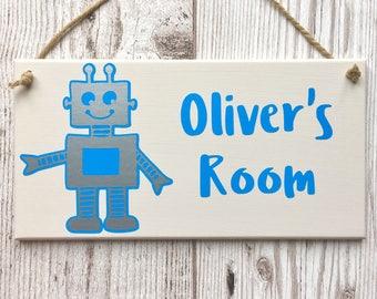 Robot Personalised Door Sign ~ Kids Door Plaque ~ Children's Bedroom Plaque ~ Kids Door Hanger ~ Custom Name Sign ~ Kids Room Sign