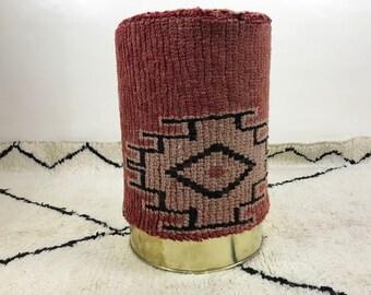 Red Stool Floor cushion - Berber Stool cushion - Stool Side table - Foot rest - Vintage Boujad Floor cushion - Made fom Moroccan rug