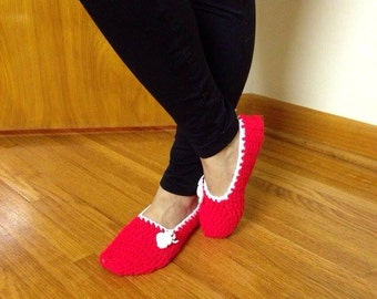 Cozy Crochet Slippers, Red Cherry Chunky Women's House Shoes,