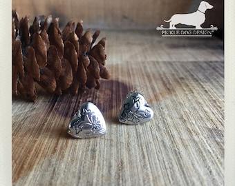 Little Love Locket. Silver Heart Post Earrings -- (Vintage-Style, Locket Earrings, Heart Jewelry, Rustic, Gift For Her Under 10, Romantic)