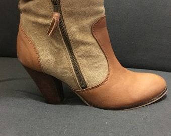 Parisian, Leather and Canvas Heeled Boots
