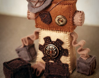 Customized Steampunk Robot Plush Doll with Vintage Buttons OOAK