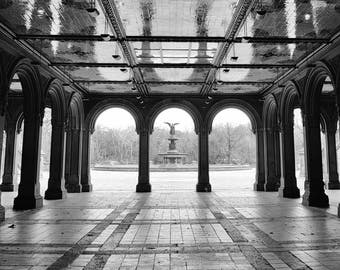 Central Park, Bethesda Terrace, Angel Fountain, New York Photography, Black and White, NYC, Romantic, New York Wall Art, Home Decor