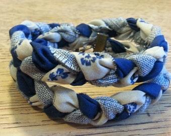 Double Braided Fabric Bracelet - Shades of Denim - 3/4 inch width