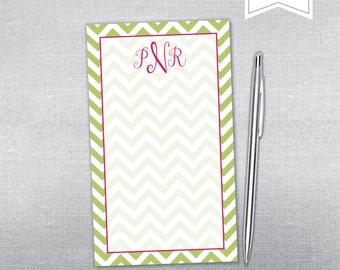 Chevron notepad. Chevron and monogram notepad. Personalized Notepad.
