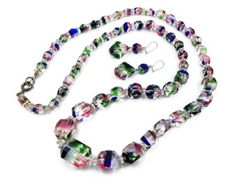 Vintage Iris Glass Bead Necklace Earrings Set - Rainbow Glass, Long Heavy Beads, Colorful Bead Necklace, Givre Glass Beads, Gifts for Her