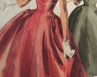 Gorgeous Vintage 1950's Dress Pattern With Gathered Full Skirt and Low V-Neckline---Simplicity 4893---Size 12  Bust 30