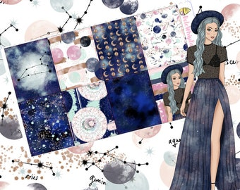 Counting Stars // Zodiac Constellations Inspired Weekly Vertical Planner Sticker Kit