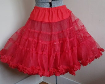 Vintage Red Petticoat Crinoline Medium to Large