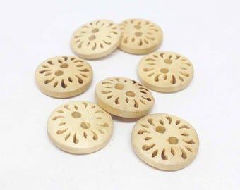 12 Wood Buttons- 15mm dia - 12pcs- sewing button, knitting, crochet, scrapbook - WBUT-04