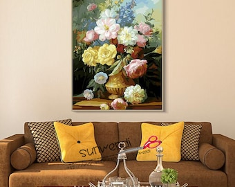 Digital painting diy, Oil painting, adult children coloring hand-painted paintings, decorative hand-painted oil painting