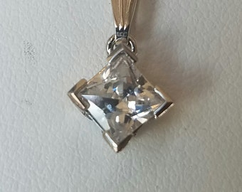 14kt White Gold Solitare Princess Cut Pendant Cubic Zirconia