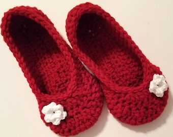 Crochet slippers in red with white rose, soft house shoes, womens slippers, GREAT GIFT