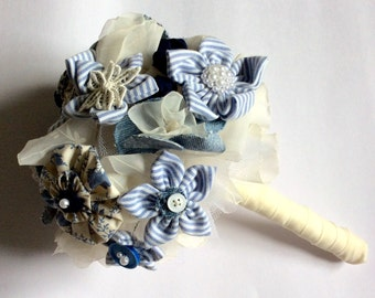 Blue bridal bouquet of fabric flowers, alternative bouquet, Something Blue wedding flowers of upcycled repurposed fabric