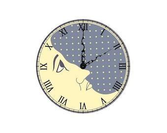 2 cabochons 14 mm glass clock Moon Steampunk 2 - 14 mm