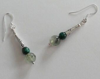 Boucles d'oreilles Phrénite Malachite - Collection Ellaria
