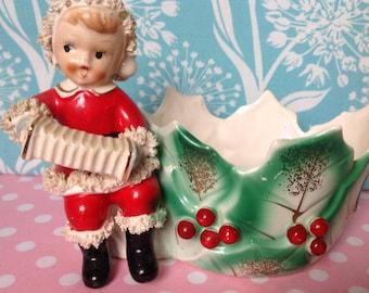 Vintage christmas planter, ceramic planter, made in Japan, Lefton, Napco, boy with accordian, holly, porcelain planter