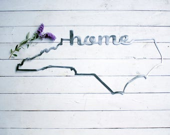 North Carolina Home Sign - Industrial Sign - Farmhouse NC Sign - NC Outline Home Wall Decor - Rustic Home Sign - Rustic NC Home Sign