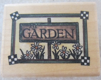 Stampington And Company Garden Sign D6130 Wooden Rubber Stamp