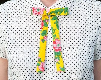 Handmade Clip on Bow Tie Western Skinny Tie Vintage Fabric Bright Floral Print Gifts under 50 Unisex