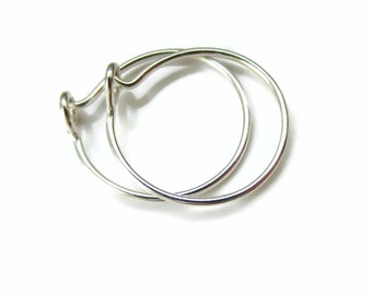 Small Hoop Earrings Solid Silver Nickel Free for Sensitive Ear Lobe, Half Inch Size, One Pair