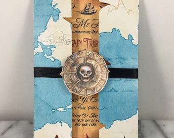 Invitation, Pirate Invite set of 10, Pirate Birthday Invitation Trifold, Birthday Invitation, Non Digital invitation, Handmade