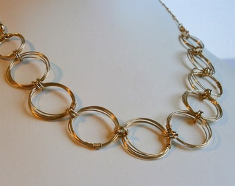 Gold Open Circles Necklace Gold Rings Necklace Large Link Chain Necklace Wire Jewelry Karma Jewelry Magnetic Clasp Necklace Bracelet Set