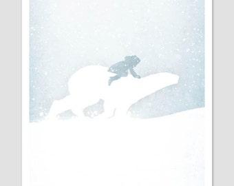 Movie Illustration, Book Illustration, Movie Poster, Children's Art, Modern Minimal, Polar Bear Art, Fantasy Movie, UK, A3 Print, A4 Poster