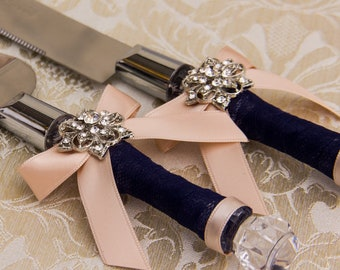 Wedding Knife Navy and Blush Wedding Cake Set Personalized Knife Cake Cutting Set Engraved Knives Cake Knife Set Engraved Cake Server