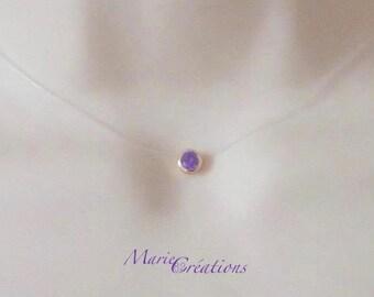 Necklace rhinestone purple Zircon gold plated / Nylon yarn