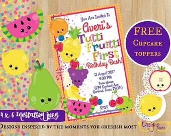 Tutti Frutti Birthday Party First Invitations  - 4 x 6 Party Invitation - Digital Download