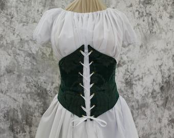 Forest Green Renaissance Costume-Halloween Costume-Medieval Bodice-LARP-Ren Fair-Steampunk-SCA-Adult Costume-Fantasy Skirt-Item #252