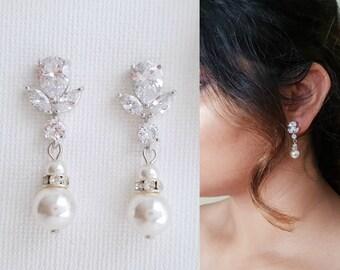 Pearl Drop Wedding Earrings Bridal Earrings Wedding Jewelry Cubic Zirconia Swarovski Pearl Bridesmaid Earrings Crystal Earrings, Nicole