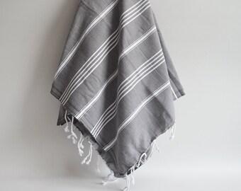 SALE 50 OFF / Turkish Beach Bath Towel / Classic Peshtemal / Warm Gray / Wedding Gift, Spa, Swim, Pool Towels and Pareo
