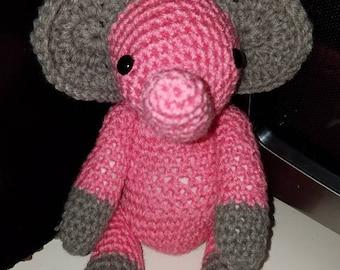 Pink Crocheted Elephant, Amigrurumi, Child toy, baby shower gift