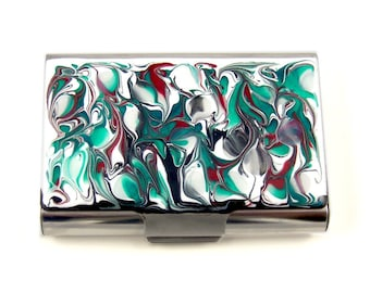 Large Business Card Case Hand Painted Enamel in Teal and Red Swirls  Credit Card Wallet in Custom Colors and Personalized Option