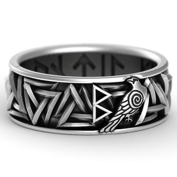 RESERVED FOR  Zachary Custom Rune Ring Sterling Silver Valknut Knot Ring, Odin Rune Jewlery, Norse Ring, Viking Rune Ring 1186