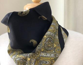 Silk vintage Black, Yellow and Gold Neckerchief/Pocket Square