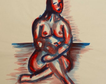 Woman in Red and Blue - Original Watercolor Painting